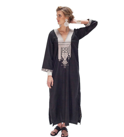 Queen Amina Caftan: Black with Silver