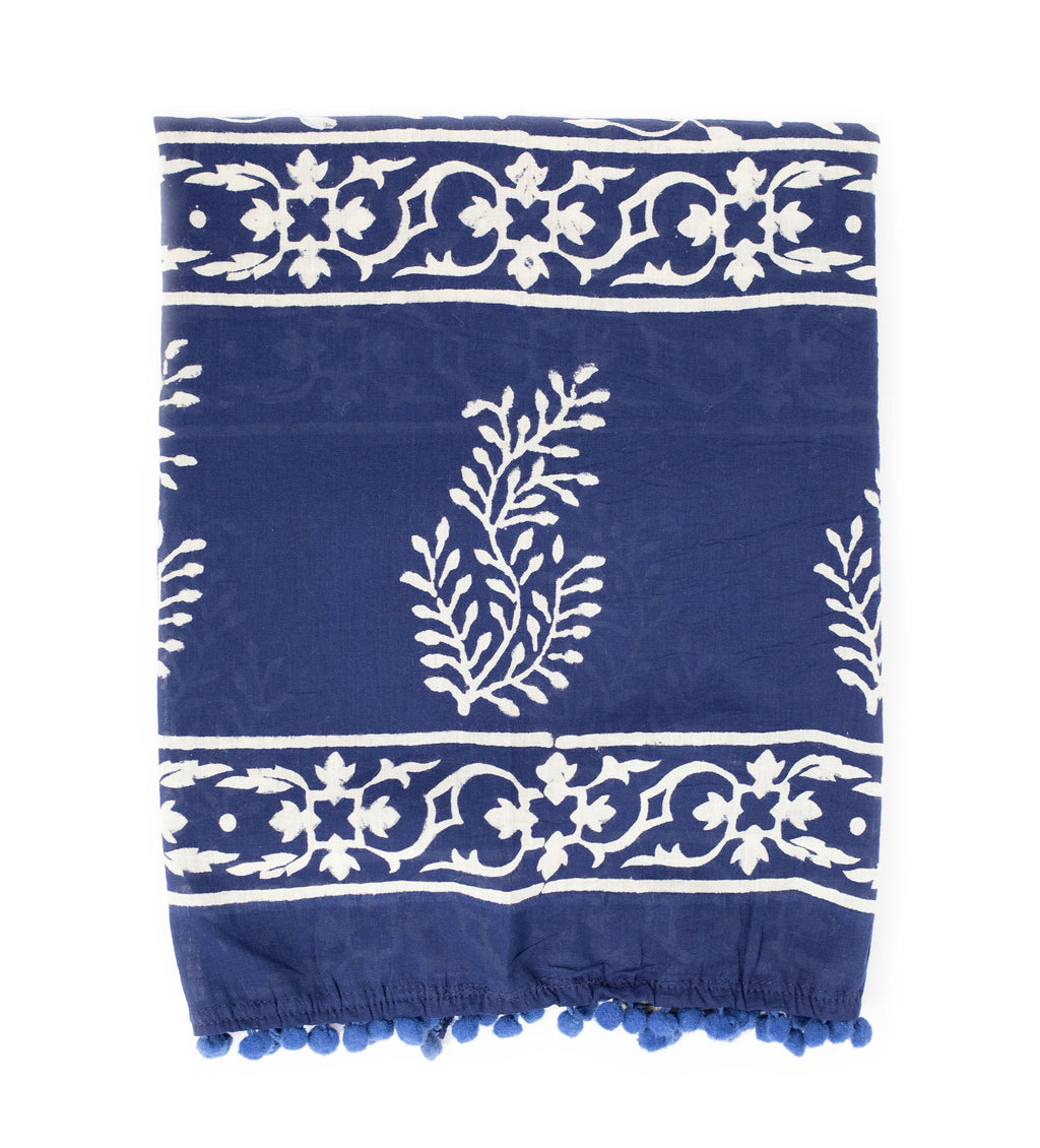 Rahela Block Printed Scarf: Indigo Leaves