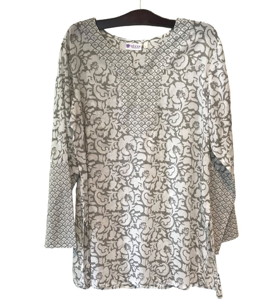 Rani Printed Cotton Tunic: Beige