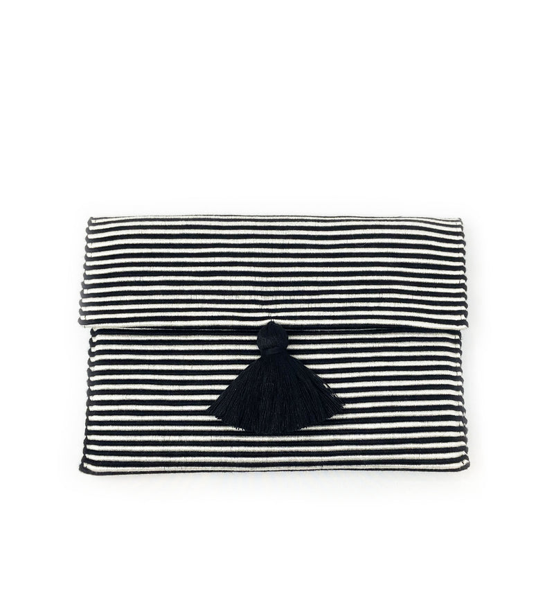 Rayas Small Stripe Clutch: Black/White