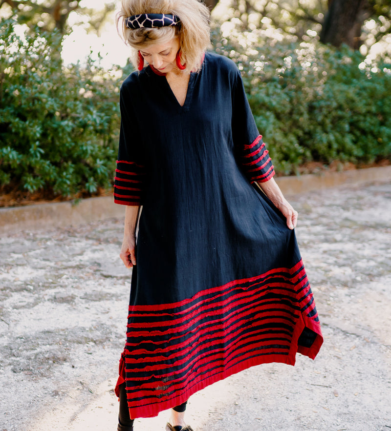 Red Strip Border Dress