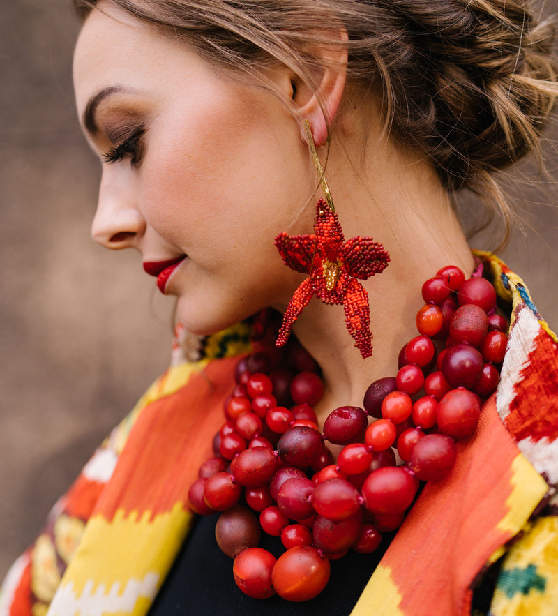 Red Beaded Orchid Earring