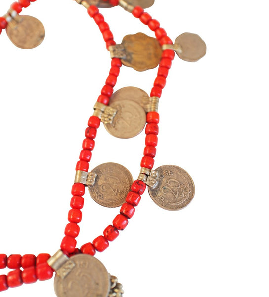 Red Indian Coin Necklace