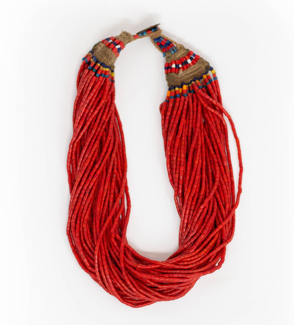 Red Full Naga Necklace with Coin