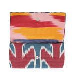 Ikat Envelope Clutch: Red and Blue