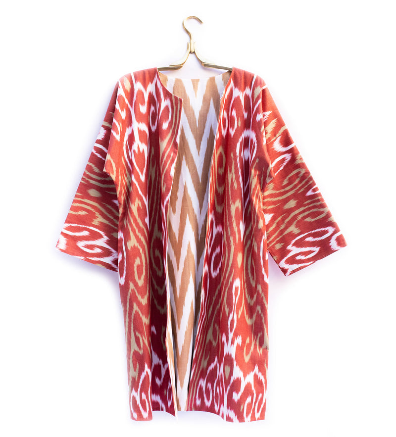 Reversible Ikat Jacket: Red and Natural