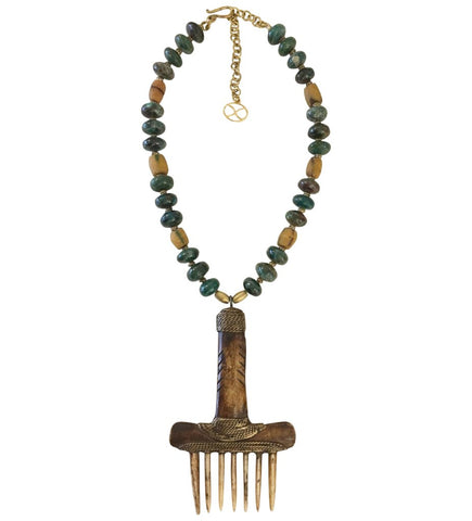 Beaded Bougie Necklace: Gold