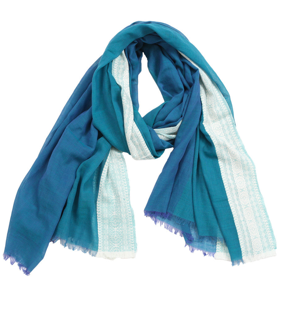 Goddess Teal Blue Scarf with Bengal Border
