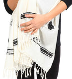 Swati Embroidered Wool Shawl: White
