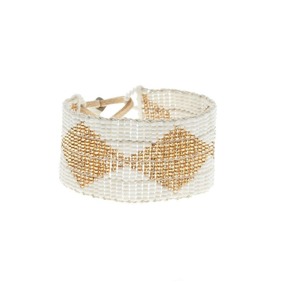 Diamond Warrior Bracelet: White/Gold