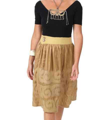 Kyrgyz Felted Short Skirt: Latte