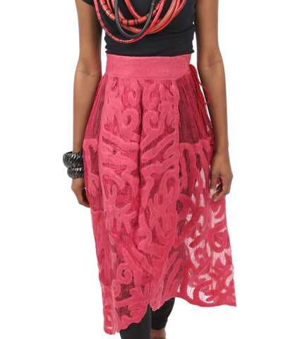 Felted Wrap Skirt: Magenta