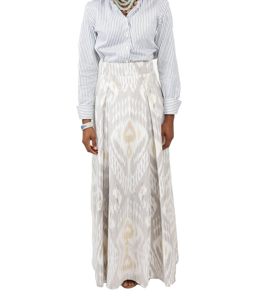 Neutral Long Ikat Skirt