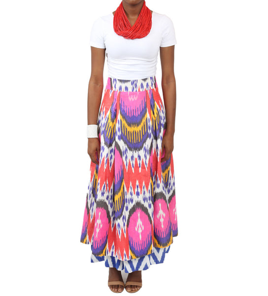 Double Layer Ikat Skirt: Vibrant
