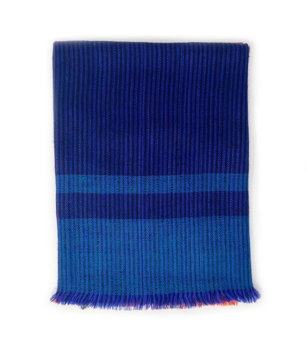 Pashmina Handwoven Scarf: Navy and Red