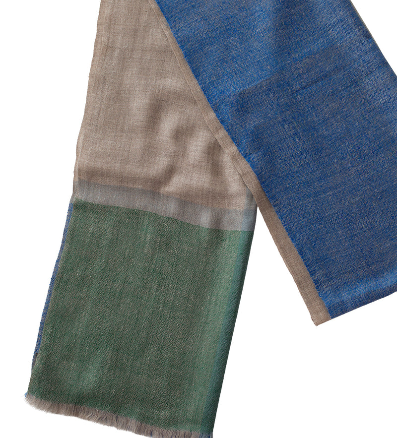 Sadhu Cashmere Shawl: Cobalt Blue and Grey