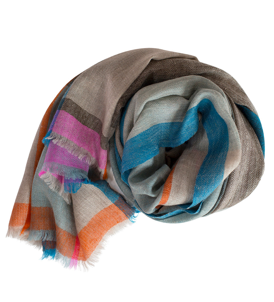 Sadhu Cashmere Shawl: Grey Blue with Pink and Orange