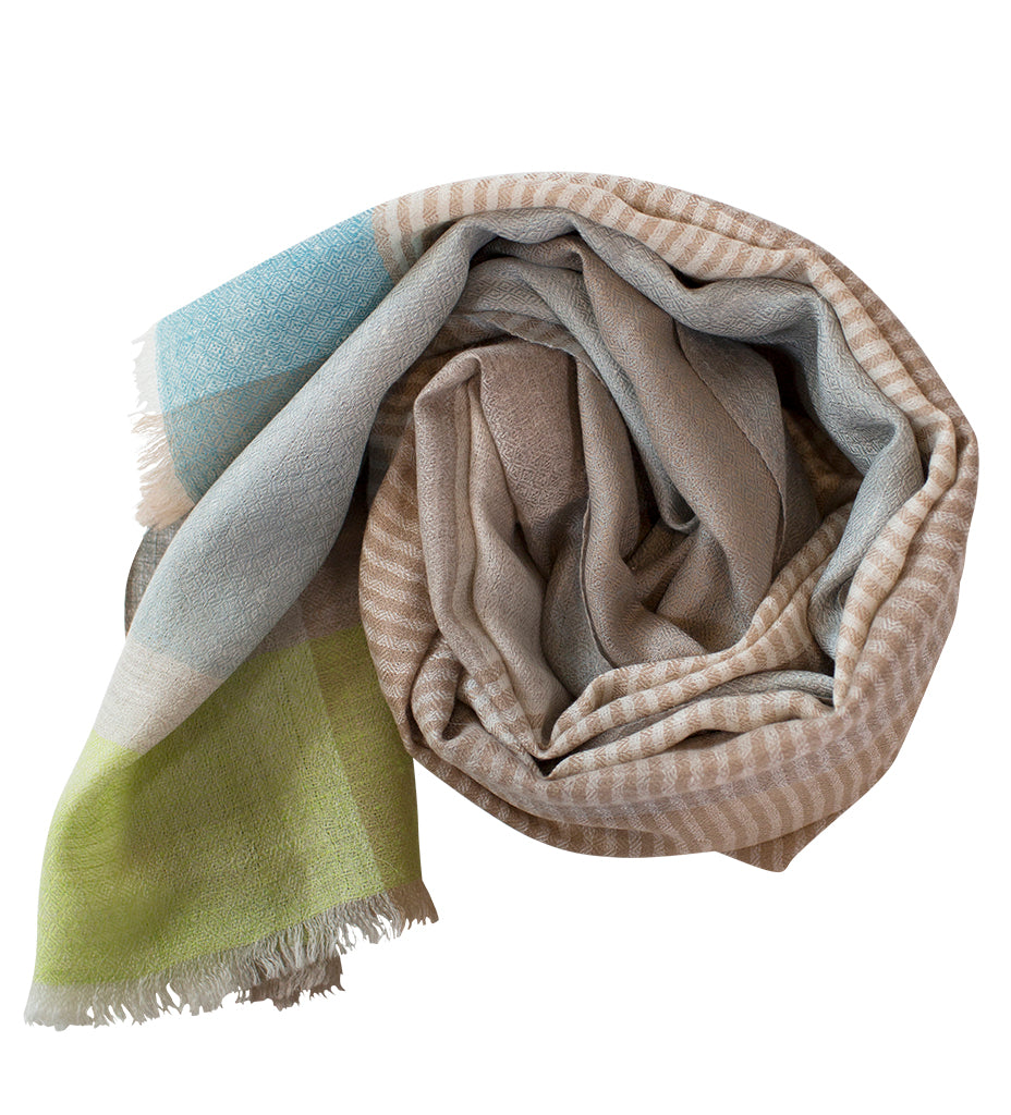 Sadhu Cashmere Shawl: Natural Stripe with Aqua