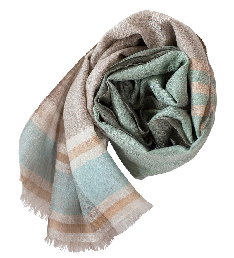 Sadhu Cashmere Shawl: Natural and Blue with Brown