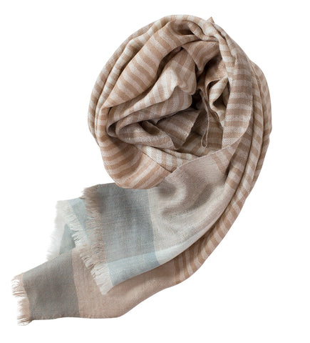 Sadhu Cashmere Shawl: Pink Stripe with Natural
