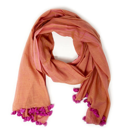 Cotton Kantha Scarf: Fuchsia and Rust Red