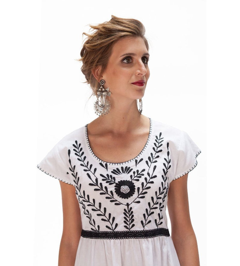 Samia Dress: White with Black