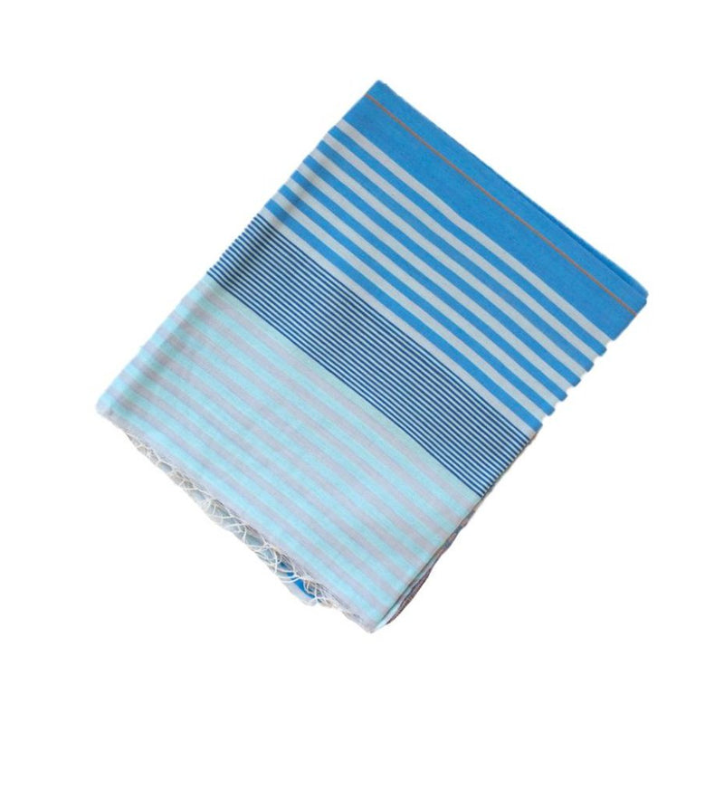 Samita Stripe Scarf: Blue and Grey
