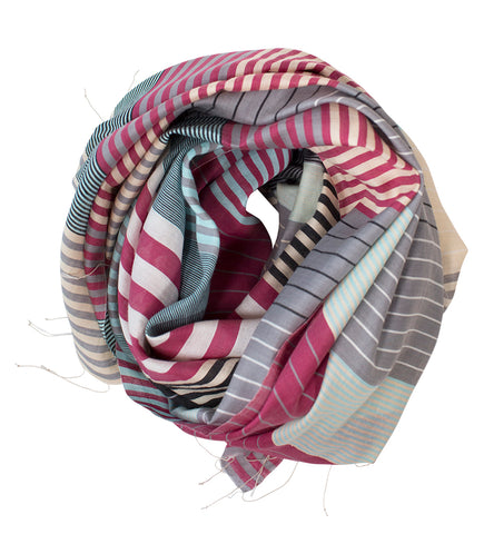 Samita Stripe Scarf: Blue and Brown