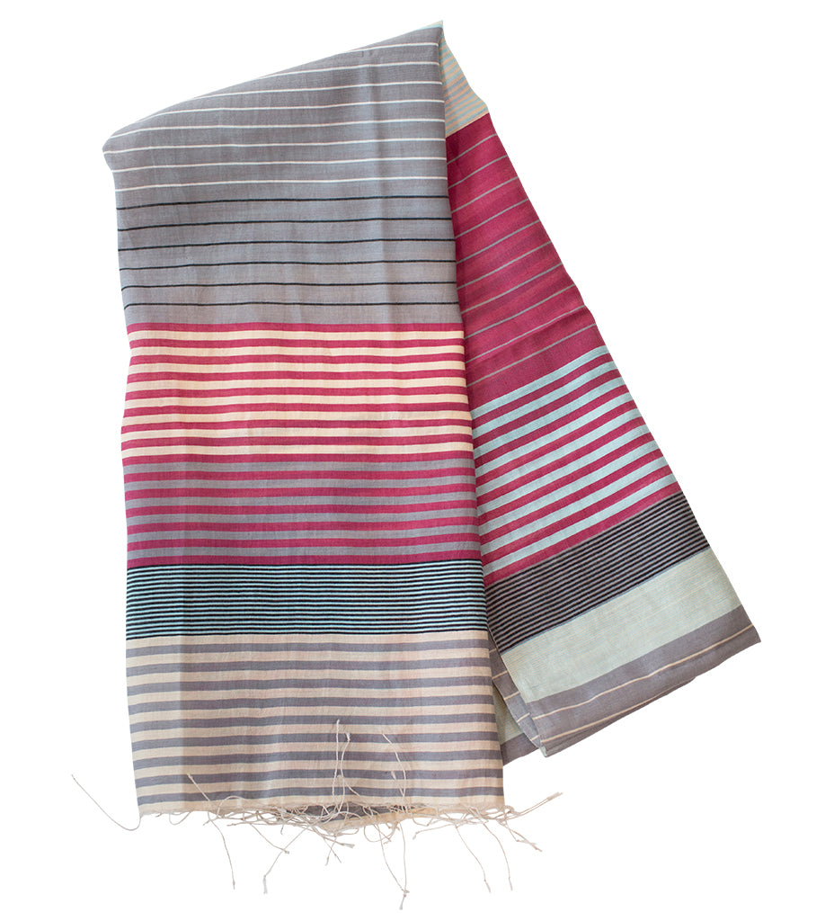 Samita Stripe Scarf: Berry and Grey