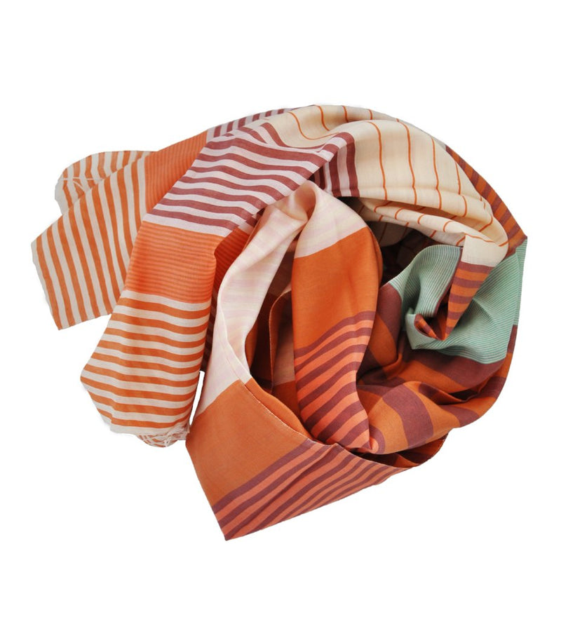 Samita Stripe Scarf: Rust and Burgundy