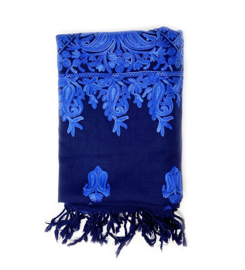 Sanika Embroidered Shawl: Blue with Blue