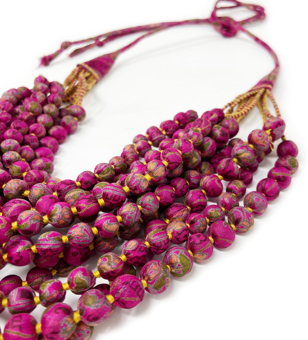 Sari Bead Necklace: Twelve Strand