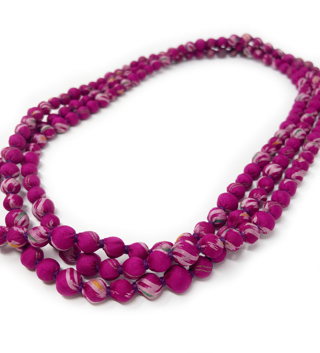 Sari Beaded Necklace: Fuchsia Single