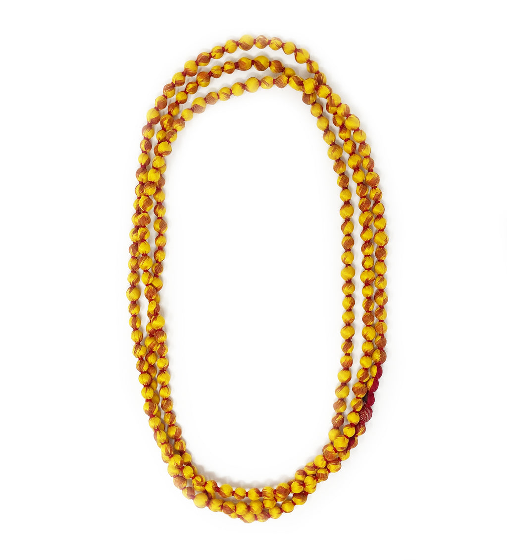 Sari Beaded Necklace: Yellow Single