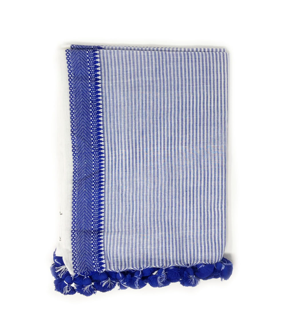 Sarvani Handloom Scarf: Blue and White