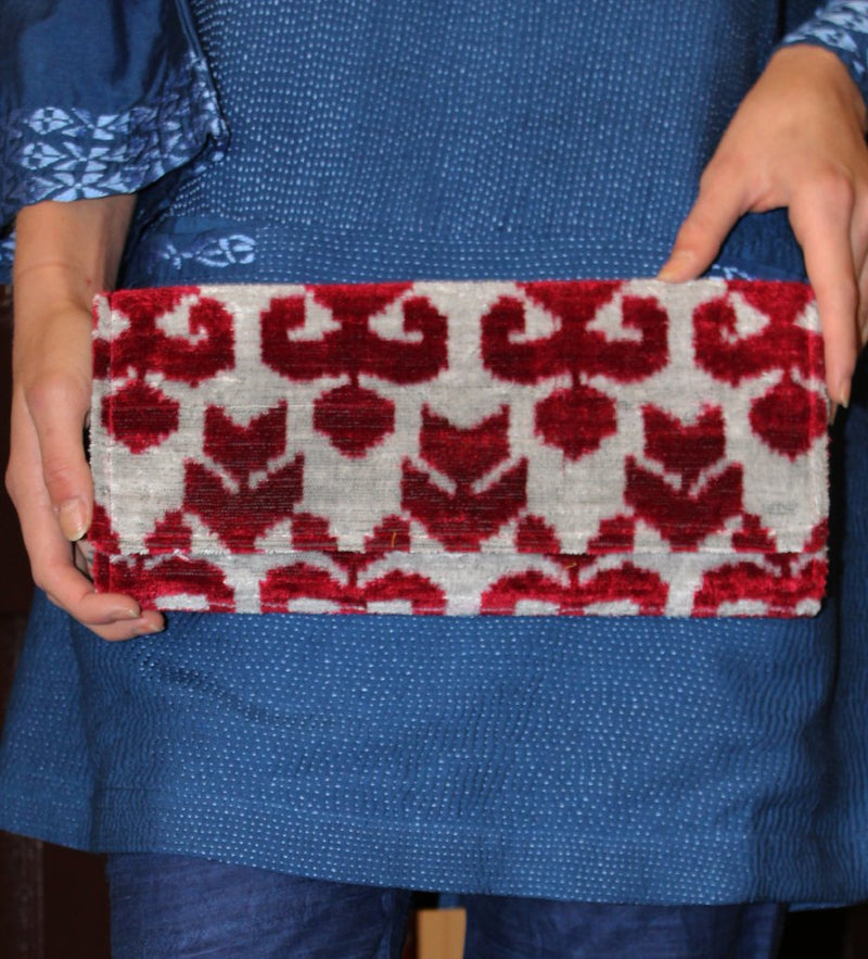 Fold Over Velvet Ikat Clutch: Scarlet Arrow