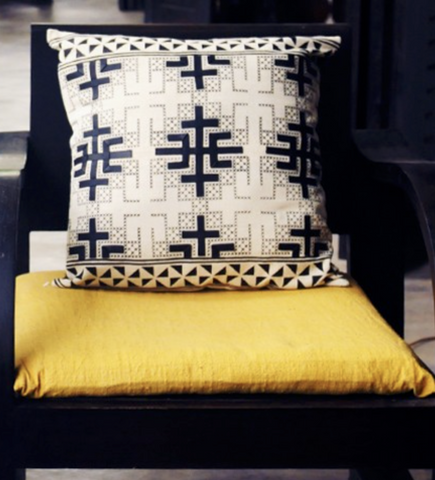 Cross Stitch Laotian Pillow: Natural and Black