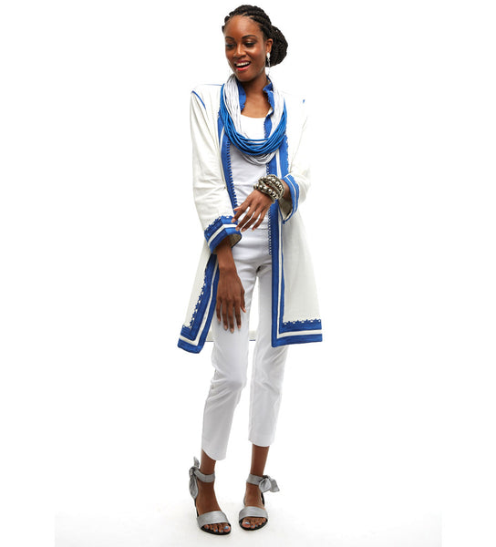 The Sefrou Jacket: White/Periwinkle