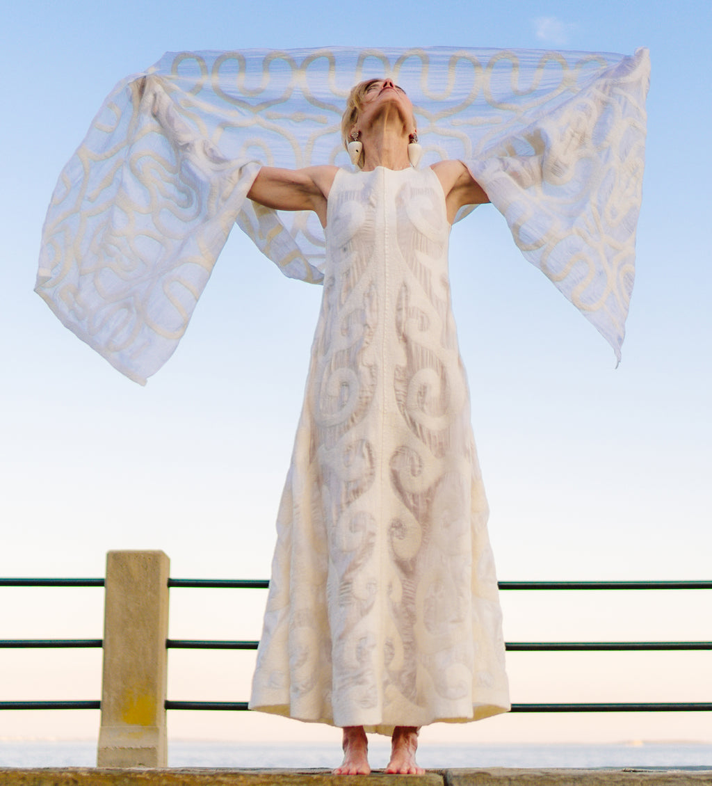 Seven Sisters Felted Dress: White on White