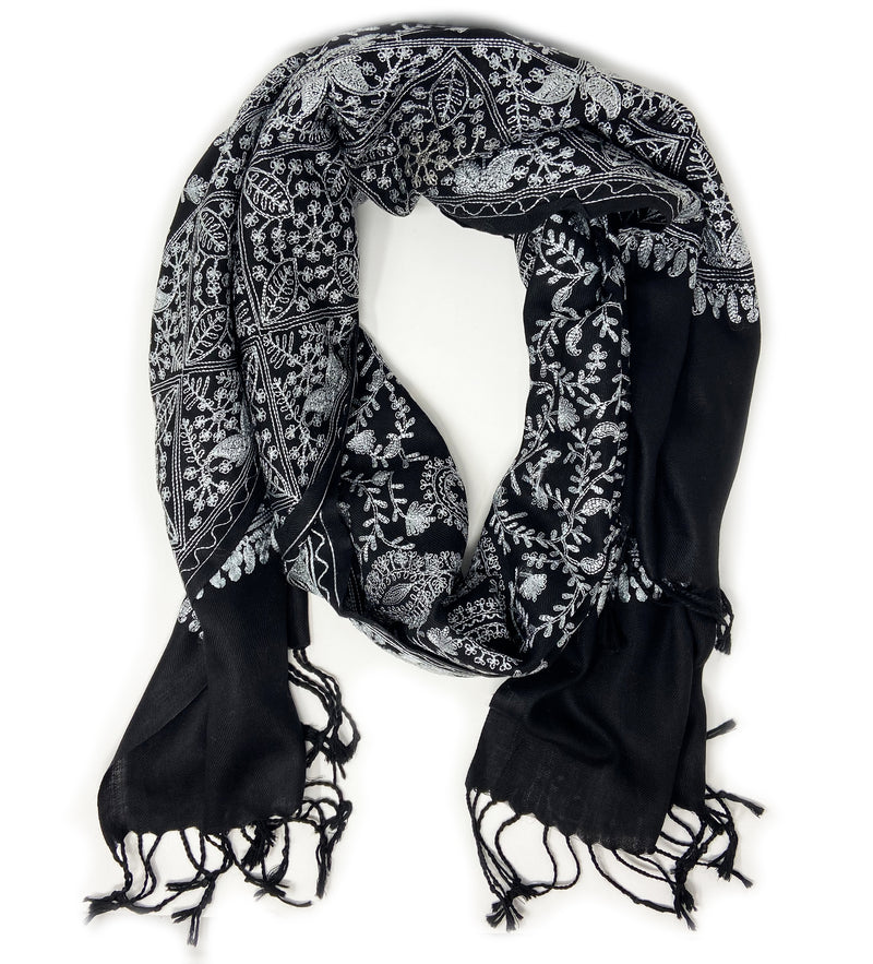 Sanika Embroidered Shawl: Black with Silver