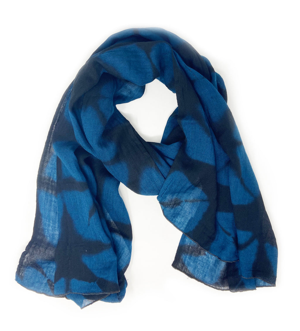 Shibori Shawl: Indigo and Black