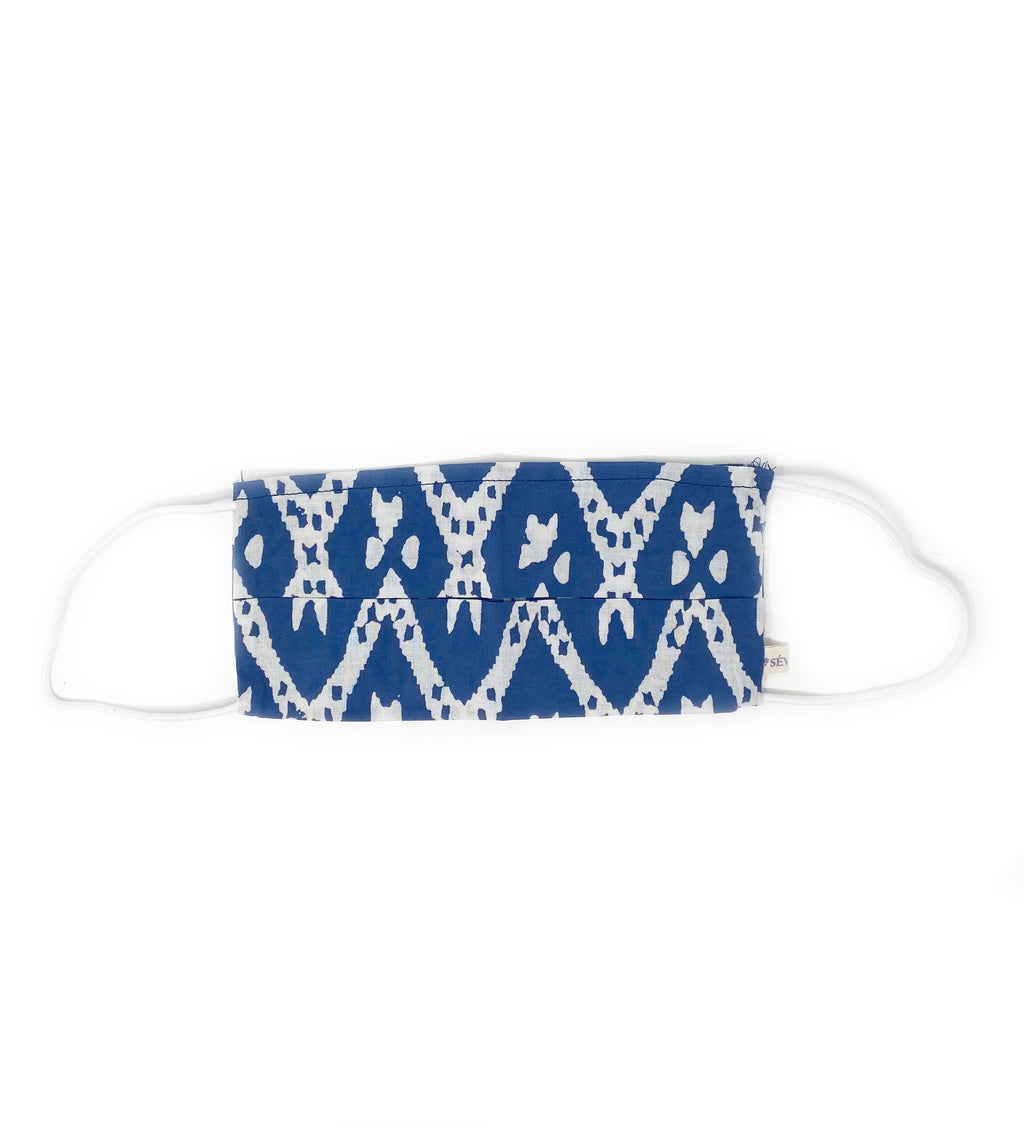 Cotton Face Mask: Navy and White Graphic