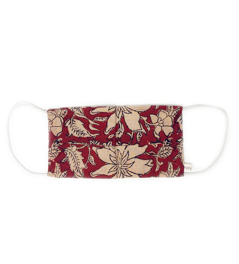 Cotton Face Mask: Red and Natural Floral