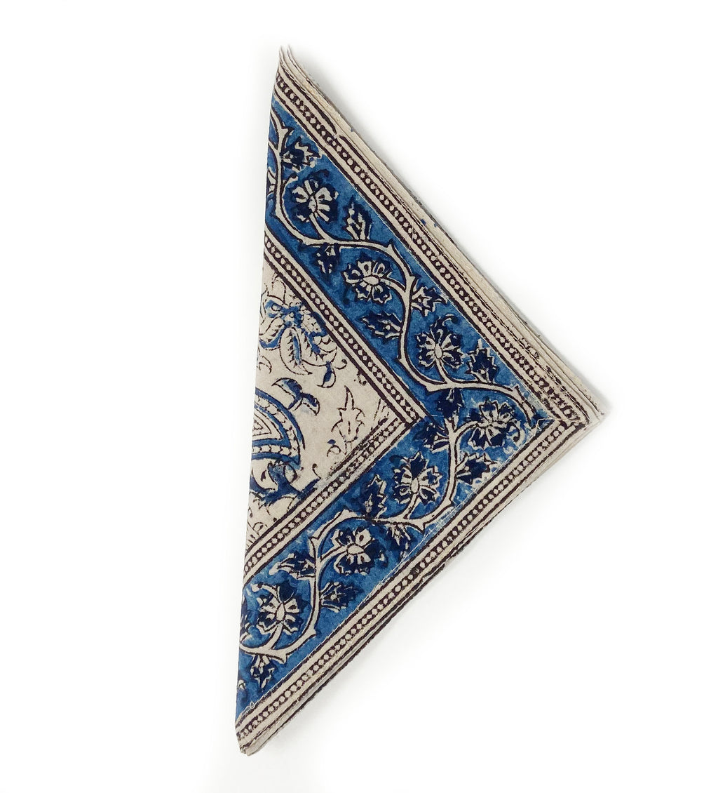 Kalamkari Napkin Set of Four: Blue