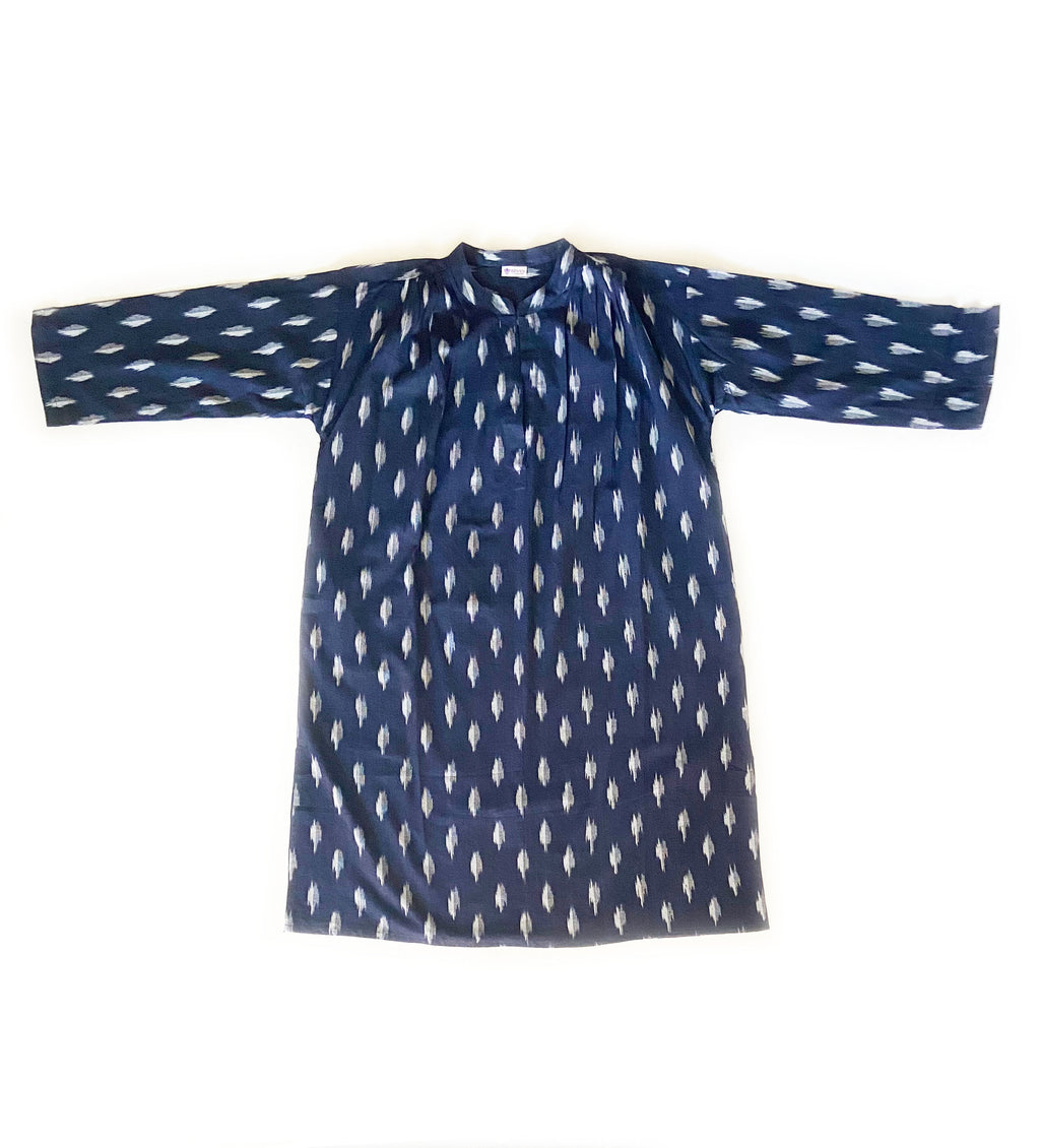 Ikat Handloom Dress: Navy