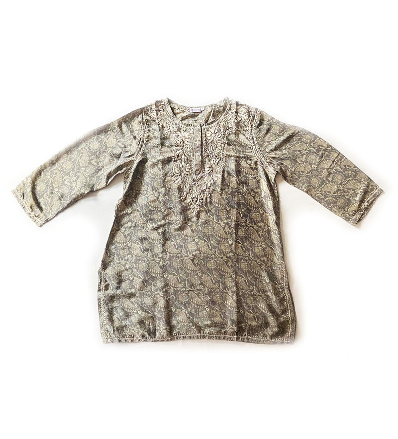 Deena Hand Embroidered Tunic: Silver