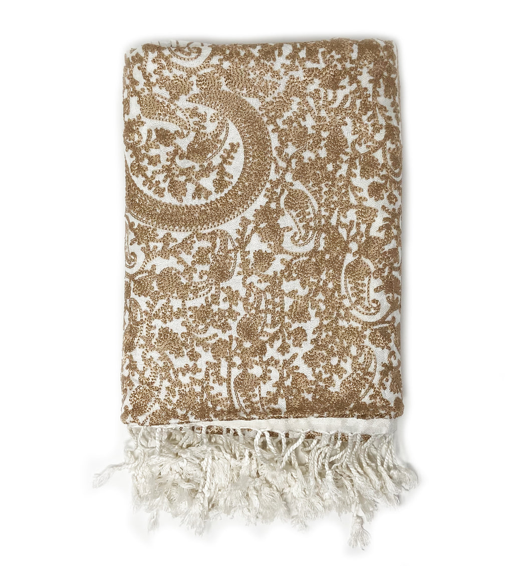 Sanika Embroidered Shawl: White with Gold