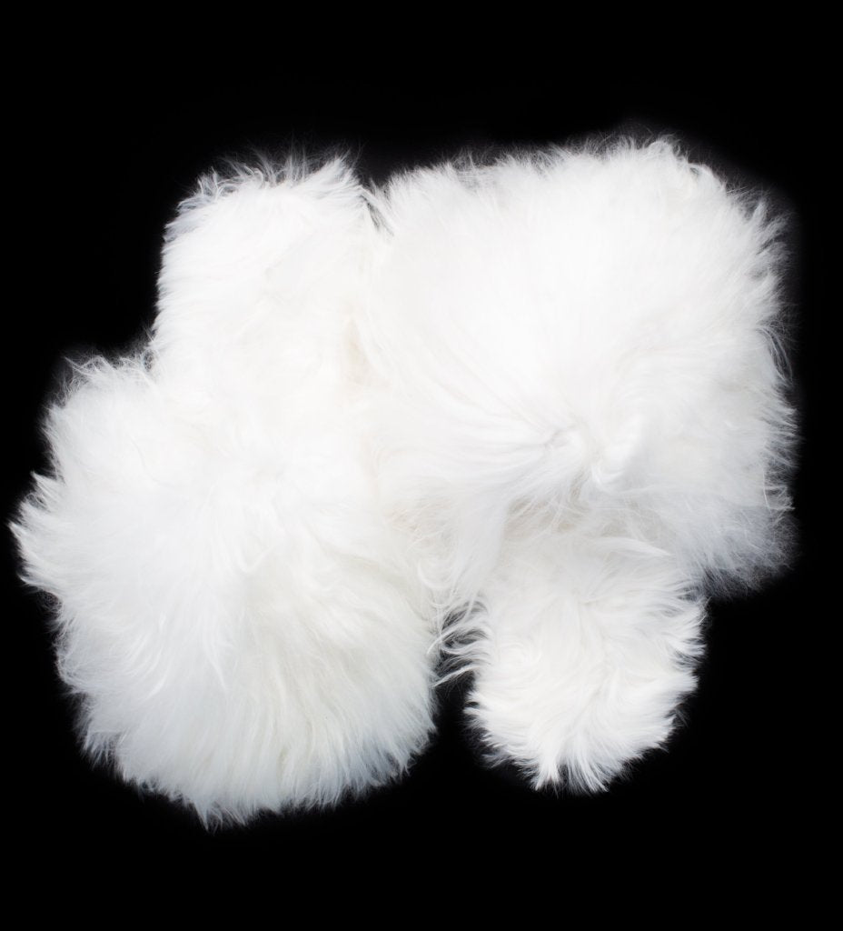 Shaggy Alpaca Slipper: White