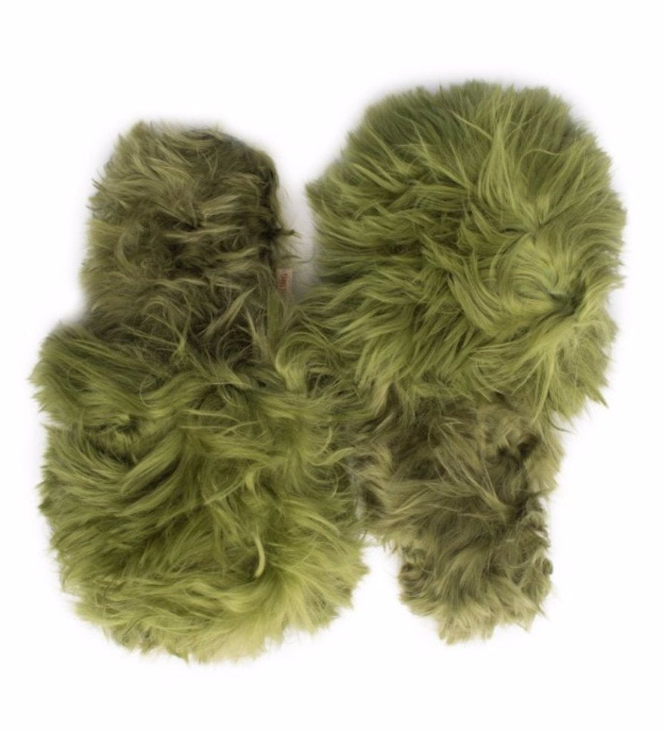 Shaggy Alpaca Slipper: Green