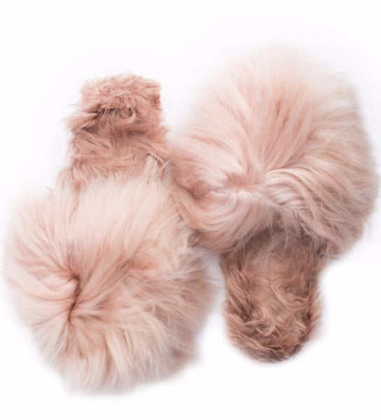 Shaggy Alpaca Slipper: Blush Pink